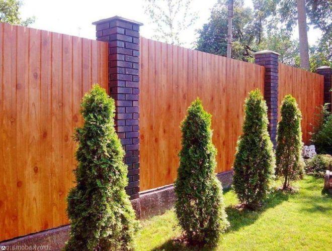 Красивый забор из профнастила под дерево