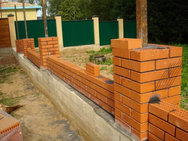 Строительство забора с кирпичными столбами