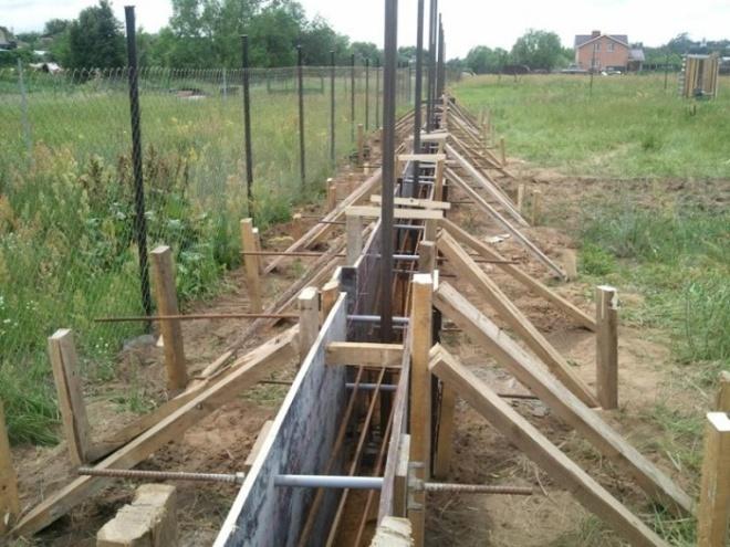Строительство ленточно-столбчатого фундамента для забора