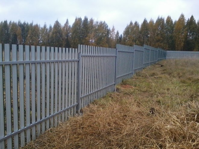 Вертикальный забор из металлического штакетника