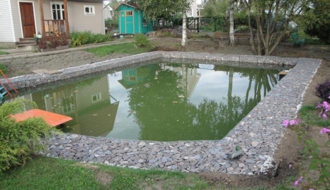 Габионы для оформления пруда