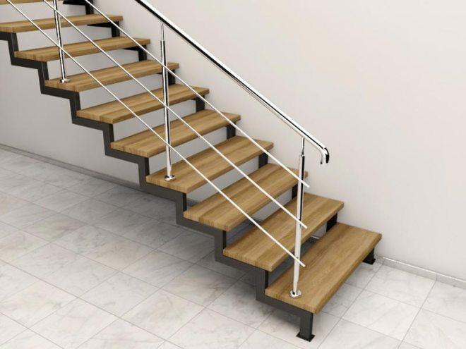 Алюминиевые перила с креплением на ступенях
