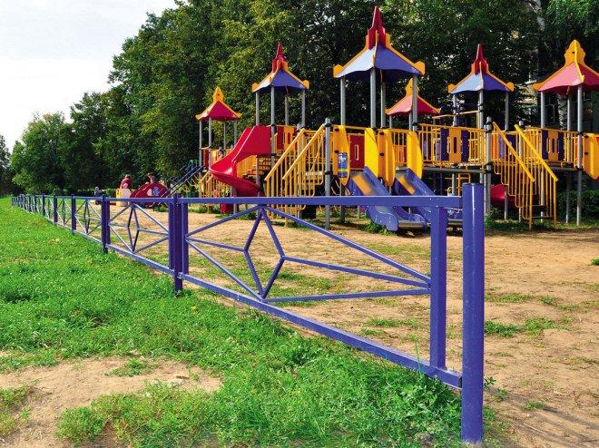 Металлическое ограждение детских площадок