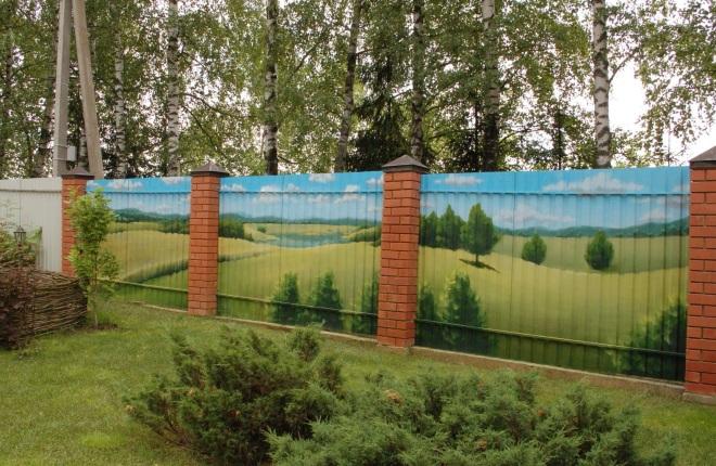 Красивый забор из шифера
